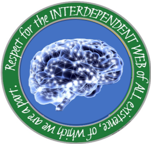 round emblem with a human brain in the middle